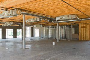 construction site showing HVAC installation